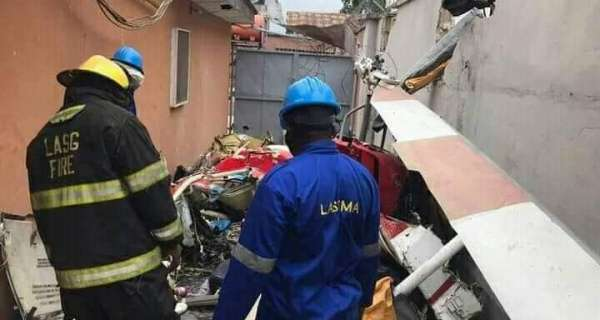 Breaking News: Helicopter Crashes Into Building in Opebi,Lagos